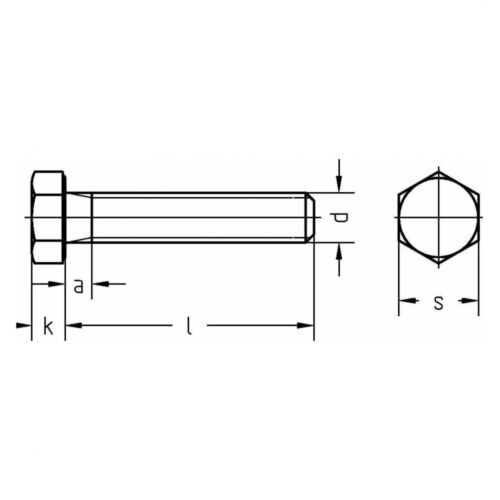 Fein M 16 x 1,5 x 30 8.8 blank DIN 961 Sechskantschraube Gewinde bis Kopf