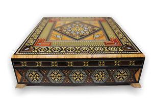 Schmuckkaestchen-Holz-Schatulle-Perlmutt-Aufbewahrung-Geschenk-Box-Damaskunst-444