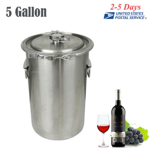 5 Gallon Home Brew Kettle Brewing Stock Pot Beer Wine machine Stainless Steel US