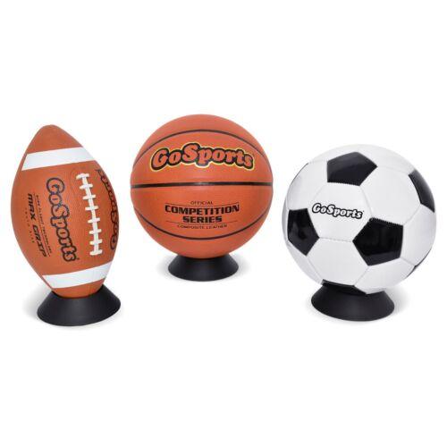 Baseballs Footballs GoSports Ball Stand /& Holder for Basketballs 3 Pack