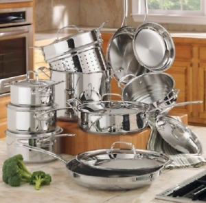 Details about Cuisinart Cookware Set Stainless Steel Pots and Pans Kitchen  Cooking Sets 17 Pc