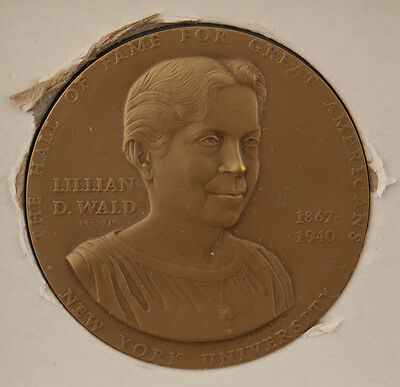 Radient Medallic Art Hall Of Fame Great Americans Nyu Medal Lillian Wald Bronze Modern Techniques Exonumia Medals