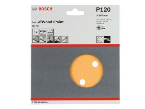 Bosch Professional 2608605089 K120 150 mm Schleifblatt C470 Exzenterschleife 5St