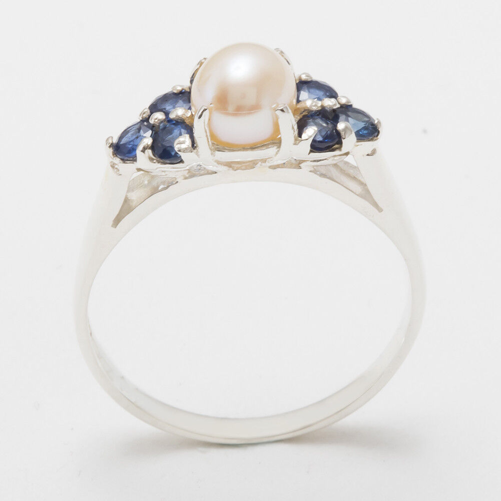 Solid 14ct White gold Full Pearl & Sapphire Womens Cluster Ring - Sizes J to Z