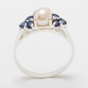 Solid-14ct-White-Gold-Full-Pearl-amp-Sapphire-Womens-Cluster-Ring-Sizes-J-to-Z
