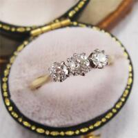 ART DECO 0.50ct DIAMOND TRILOGY RING in 18ct GOLD and PLATINUM sIze O 1/2