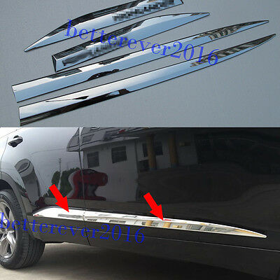 Chrome Body Door Side Molding Cover Trim 4pcs For 2014