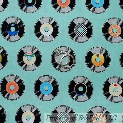BonEful Fabric FQ Cotton Quilt Aqua Blue Black B&W Elvis S Record Jazz Music Dot