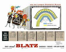 Milwaukee Braves Blatz Beer 1959 Promo Poster Schedule, 8x10 Color Photo