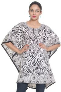 Beach-Tunic-Dress-White-Black-Kaftan-Tunics-Casual-Ladies-Maxi-Plus-Women-Caftan