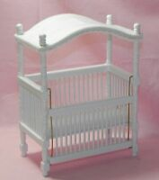 Dollhouse Miniature Baby Crib With Canopy Wood White Handley Cla10361 1:12 Scale