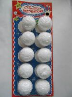 2 Round White Styrofoam Balls - Snowball Texture - 10 Ball Pkg- Free Ship