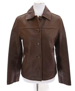 Vtg-J-Crew-Womens-Genuine-Leather-Bomber-Button-Up-Jacket-Brown-Sz-Small