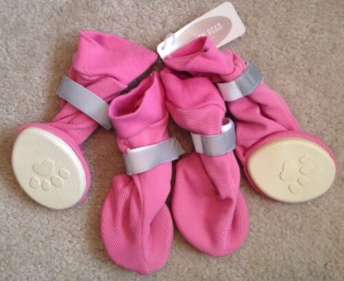 NWT Pink Stretch Lined Rubber Soled Dog Pet Booties Large