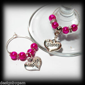 Beautiful-Hot-pink-wedding-wine-glass-charms-for-top-table-or-favours-decor