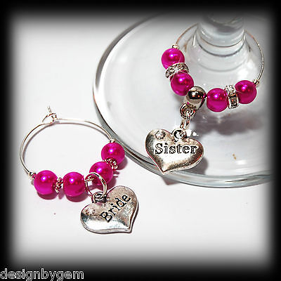 Beautiful Hot pink wedding wine glass charms for top table or favours. decor