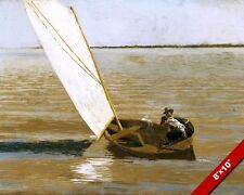 2 MEN SAILING IN DINGY BOAT AMERICAN OIL PAINTING ART REAL CANVAS GICLEEPRINT