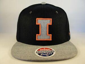 e8051ab5 Image is loading Illinois-Illini-NCAA-Zephyr-Snapback-Hat-Cap-Navy-