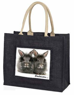Zwei Silber Kaninchen  Soulmates  große schwarze Einkaufstasche WEIHNACHTEN