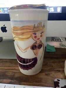 2015 Starbucks Gold Color Lid Siren Mermaid Ceramic Travel Tumbler Cup Mug NWOT