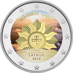 2-Euro-Gedenkmuenze-Lettland-2019-coloriert-Farbe-Farbmuenze-Aufgehende-Sonne