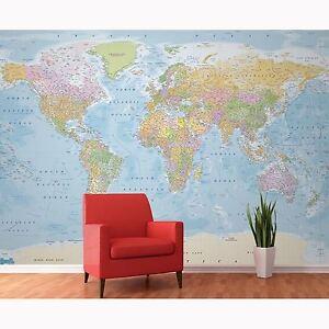 World map wall mural 315cm x 232cm high quality fantastic feature in la imagen se est cargando planisferio mural de pared 315 cm x 232 gumiabroncs Image collections