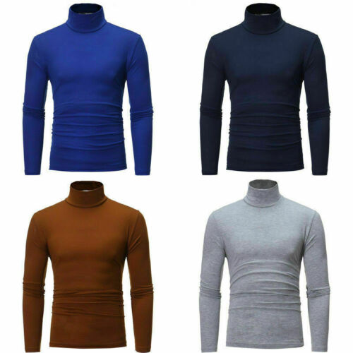 Men/'s High Turtle Neck Sweater Layer T-shirt Slim Fit Tops Thermal Under Base