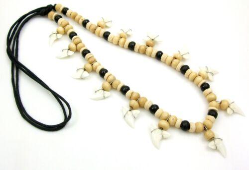 """Handmade 13 Mako Shark Tooth 20/""""-30/"""" Beads Surfer necklace Men Women Kids  AA229"""