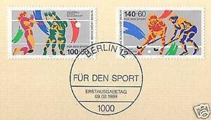 Berlin-1989-Volleyball-Hockey-Sport-Nr-836-837-mit-Ersttags-Sonderstempel-1A