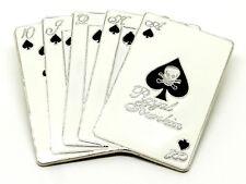 Playing Cards Belt Buckle Black & White Skull Themed Casino Vegas Poker Gambling