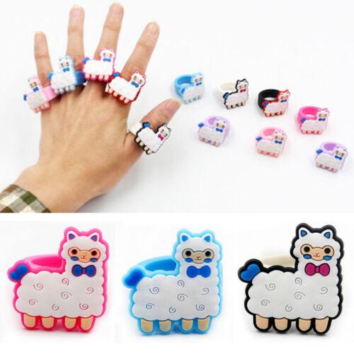 Cartoon Cute Alpaca Finger Ring Soft Silicone Kids Birthday Party Favor Charm