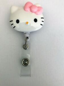 Rare-Hello-Kitty-034-Romantic-034-Pink-Bow-ID-Holder-Retractable-Clip-Lanyard-Tracking