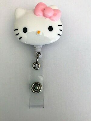 """Rare Hello Kitty /""""Romantic/"""" Pink Bow ID Holder Retractable Clip Lanyard Tracking"""