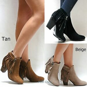 New Women OGa26 Black Tan Beige Fringe Booties Western Ankle Boots ... 1c24eb911