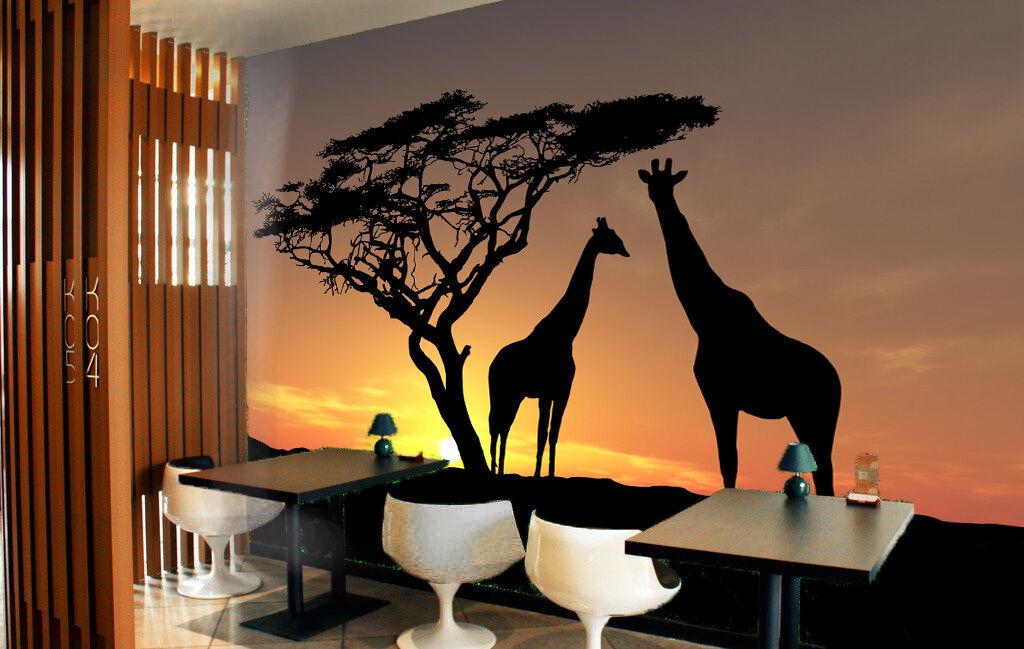 3D Zwei giraffen, Baum 404 Fototapeten Wandbild Fototapete BildTapete Familie DE