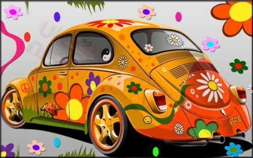 FLOWER POWER BEETLE CAR T-SHIRT-MENS WOMENS TOPS - S M L XL 2XL 3XL 4XL 5XL
