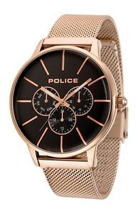 Police-Men-039-s-Quartz-Watch-Rose-Gold-Stainless-Steel-Band-14999JSR-02MM