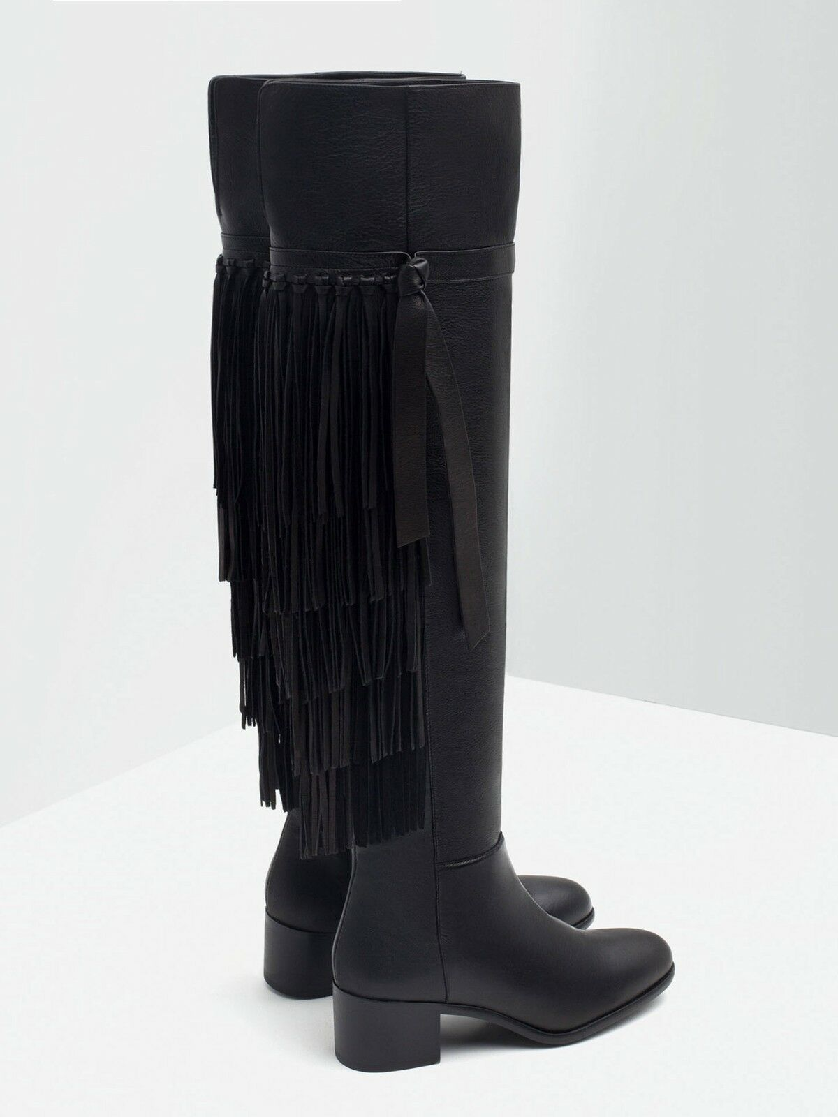 ZARA XL OVER THE KNEE FLAT LEATHER BOOTS WITH FRINGE BLACK ALL SIZES 6066/001