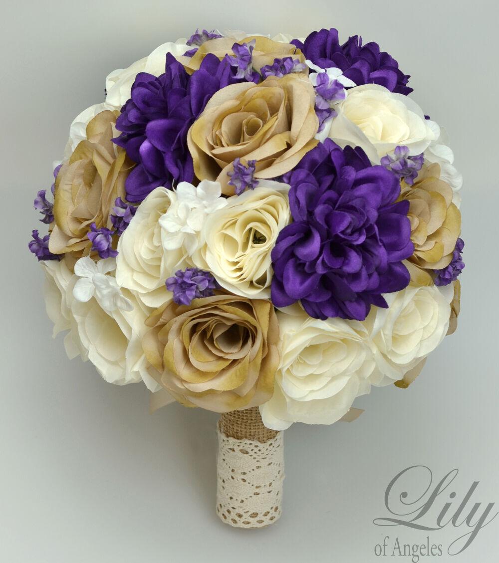 17 Pièce Paquet Soie Fleur Mariage Bridal Bouquet ensembles rustique violet Tan Crème