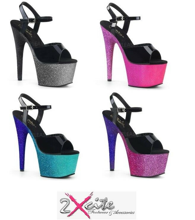 PLEASER ADORE 709 OMBRE GLITTER 7  HIGH HEEL PLATFORM ANKLE STRAP SHOES SANDALS