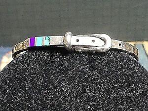 Handmade-Vintage-Sterling-Silver-Lapis-Malachite-Turquoise-Inlay-Bracelet-Signed