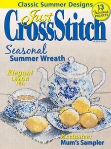 Charts-Patterns-Cross-Stitch-Wreath-Sampler-Peace-Projects-Tea-Lemon-Flower-Fish