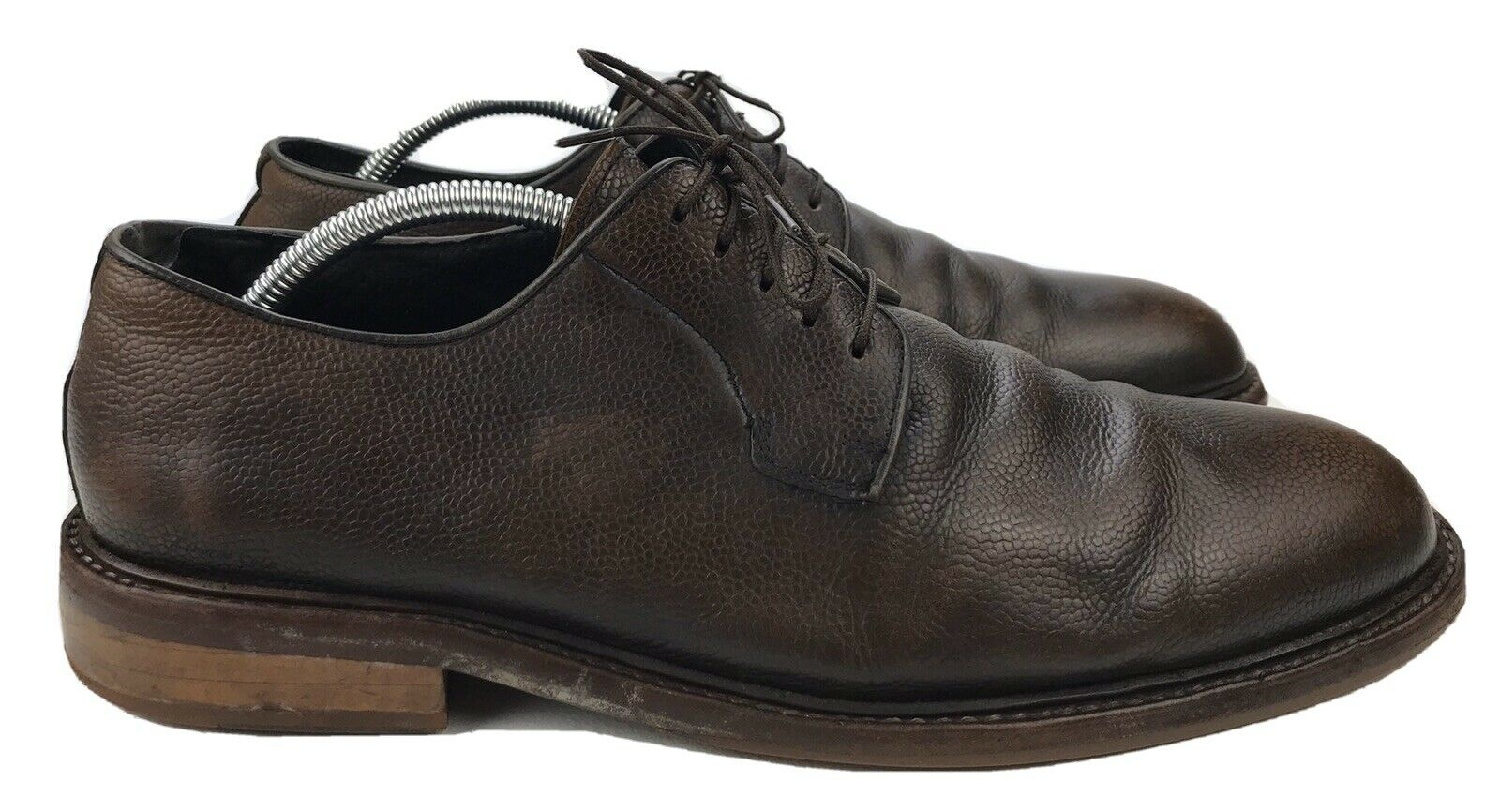 Men's 10 M - Kenneth Cole Class Mate Pebbled Brown Leather Oxford Dress Shoe
