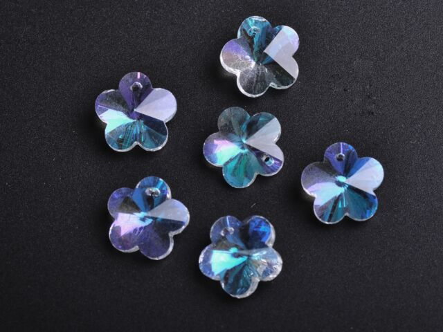 10pcs Clear ABFaceted Flower Crystal Glass Beads Loose Charm Pendants 14x14mm