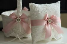 Blush Pink Wedding Basket and Pillow Set  Pink Wedding Ring Pillow with Lace