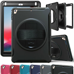 Hybrid-Rotating-Stand-Tablet-Case-Strap-Cover-For-iPad-9-7-6th-5th-Generation