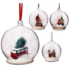 Ebay Christmas Baubles.Details About Elizabeth Claus Handmade 7cm Christmas Baubles Clear Glass Ornaments 4pc Set
