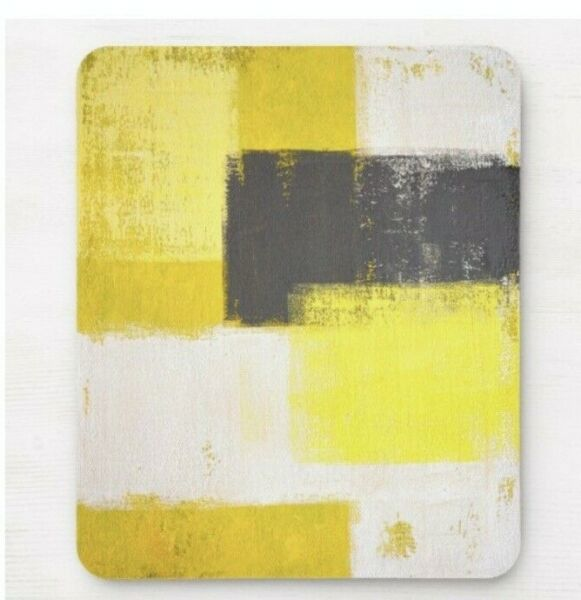 'modern' Grey Yellow & White Abstract Art Mouse Pad Mouse Mat, Non Slip Backed