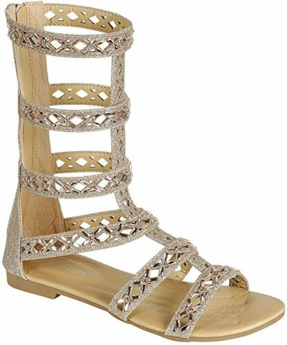 Women/'s New Knee High Strapy Winged Cage  Flat Gladiator Sandals Shoe Sz 5-10