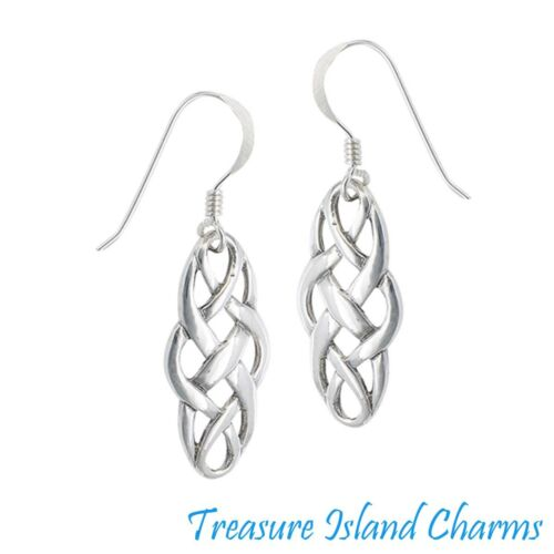 Celtic Interwoven 925 Solid Sterling Silver French Wire Hook Dangle Earrings